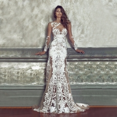 Sexy Hollow out Lace Floral White Long Sleeve Pageant Gowns Prom Dress