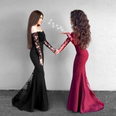 Back Zipper Black Lace Long Sleeve Ball Gown Prom Dress