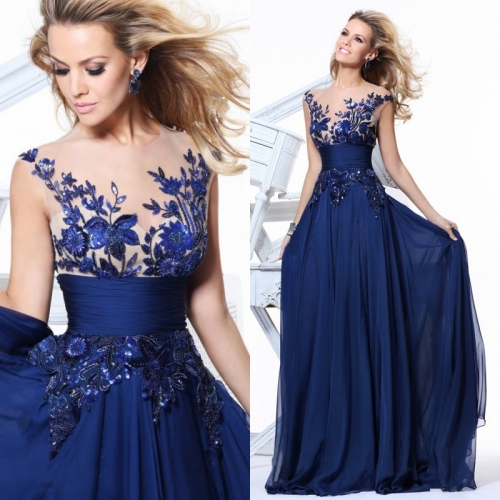 Open Back Perspective Lace Embroidery Floral Blue Red Long Pageant Prom Dress