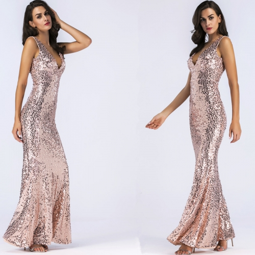 Sexy V-Neck Sequins Champagne Gold Long Pageant Prom Dress