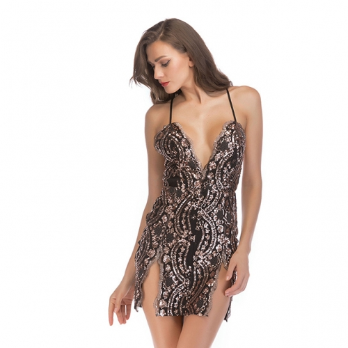 Sexy Sequined Black Split Short Home Coming Dresses