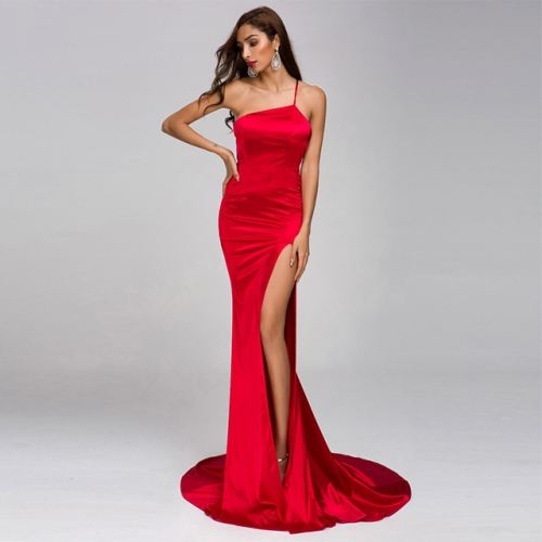 Sexy Bandage Open Back Split Red Prom Dresses