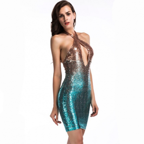 Gradient Blue Sequined Halter Backless Home Coming Dress