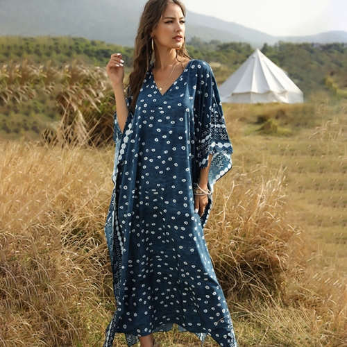 Deep Blue Loose Fit Batwing Sleeve Long Casual Dresses
