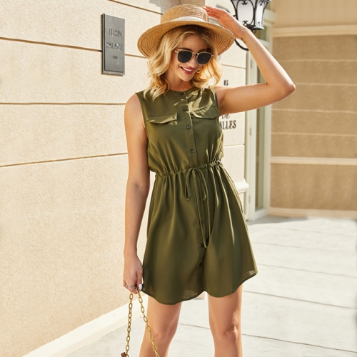 Army Green Sleeveless Button Short Dress With Pockets