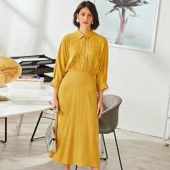 Long Sleeve Turn Down Collar Yellow Long Dress With Button