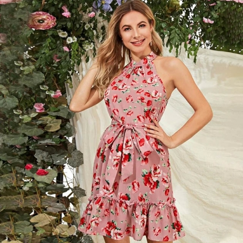 Sleeveless Floral Pattern Pink Halter Short Casual Dress