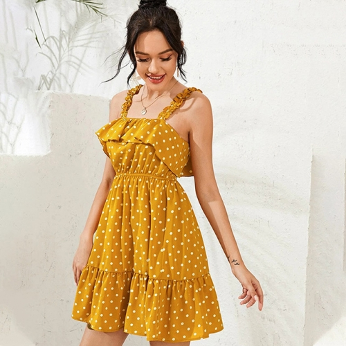 White Polka Dot Yellow Bandage Short Slim Dress