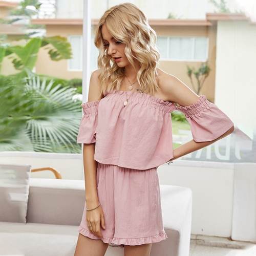 Off Shoulder Pink Chiffon Tops and Shorts Women Set