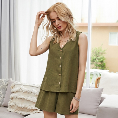 Single Button V-Neck Sleeveless Olive Tops and Shorts Set