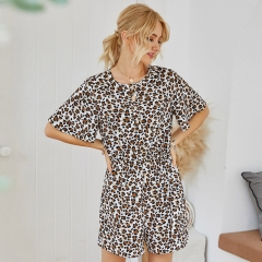 Leopard Loose Fit Short Sleeve Women Short Jumpsuit