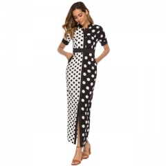 Chiffon White Black Polka Dot Lady Casual Dress