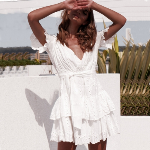 Ruffles Sleeve V Neck Hollow Out Women Dress Casual White Mini Dress